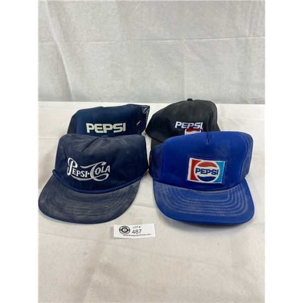 Nice Lot Of 4 Pepsi Cola Hats In Very Good Condition