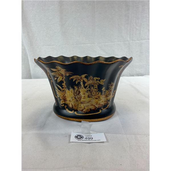 """Nice Planter Pot, Black, Asian Inspired, Approx. 6""""T x 10""""W"""