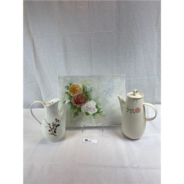 2 Decorative Teapots With Tile Decorative Tile