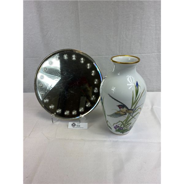 Very Nice Decorative Vase With Mirror Plate