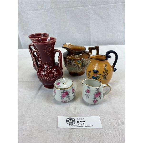Nice Decorative Lot Of Teapot, Creamer, Vases, Etc.