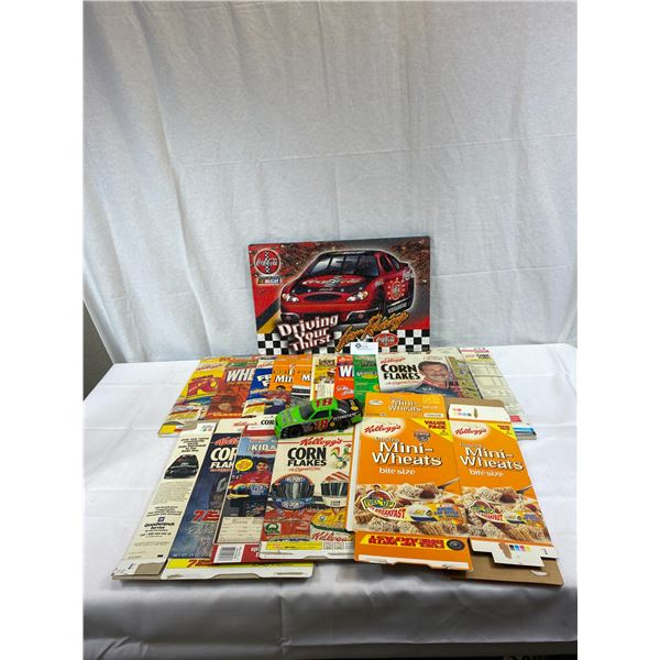 Nice Nascar Lot With Die Cast Car, Puzzle On Board Plus Empty Cereal Boxes