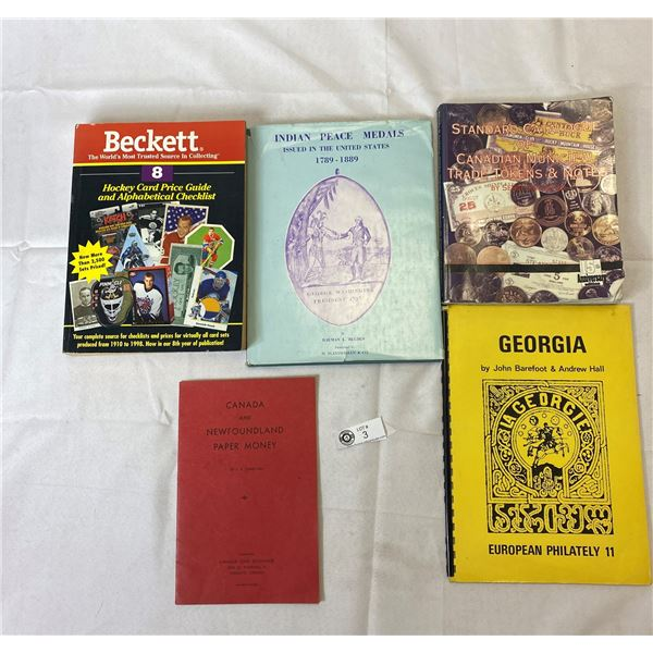 Nice Lot Of Reference Books For Hockey Cards, Canadian Tokens, Indian Peace Medals, Etc.