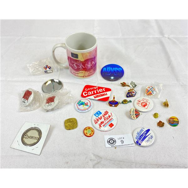 Nice Lot Of Collector Pins In A $50 Bank Note Coffee Mug