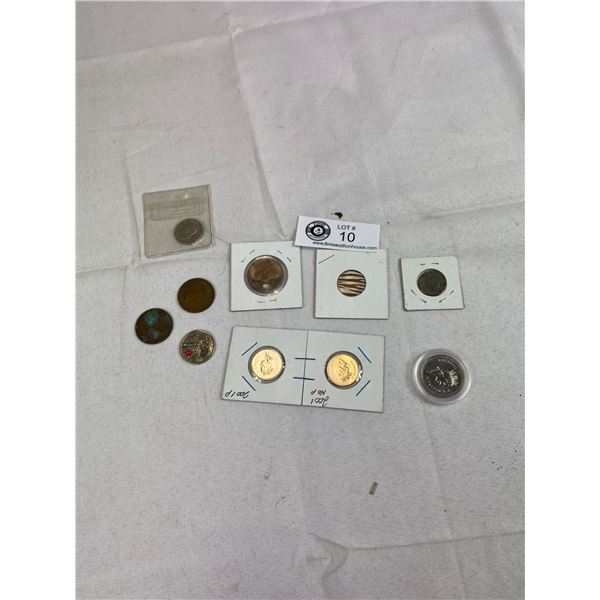 Small Lot Of Old Coins 1918 Canada Penny, 2 Variations Of 2001 Nickel, Etc.
