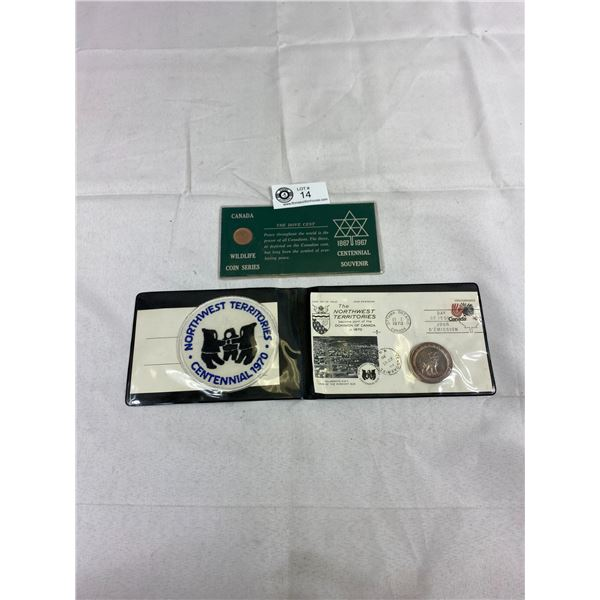 Northwest Territories First Day Cover With Token In Holder Plus Canadian Centennial 1967 Penny In Ho