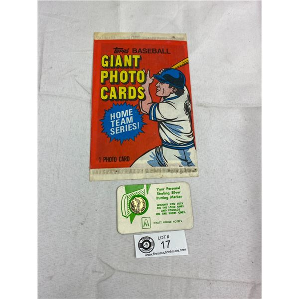 Topps Baseball Giant Photo Card 1981 Still Sealed In Package Plus Sterling Silver Putty Marker On Ca