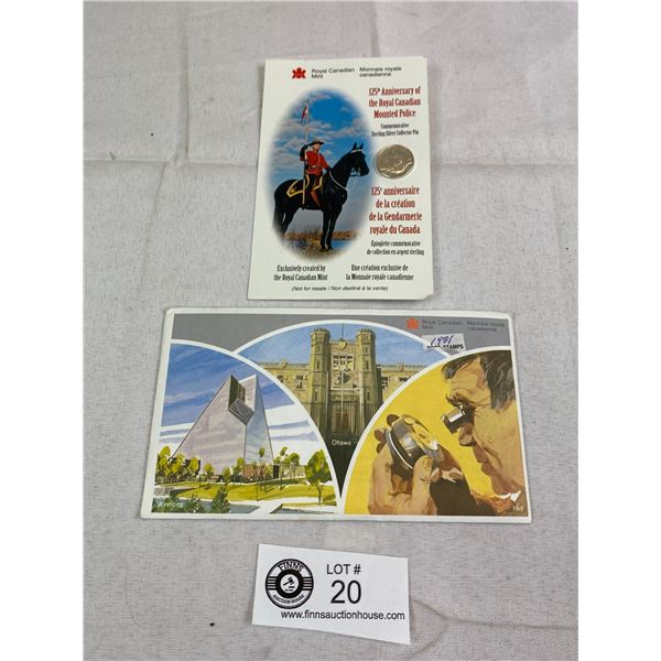 Royal Canadian Mounties 125 Anniversary Sterling Silver Pin Plus 1981 Proof Set In Holder