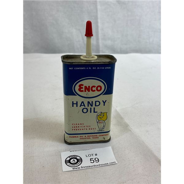 Vintage Enco Handy Oil Humble Oil And Refining Company 4oz Tin, Empty