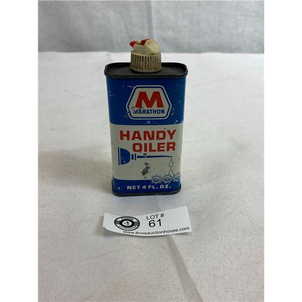 Vintage Marathon Handy Oiler 4oz Tin, Empty