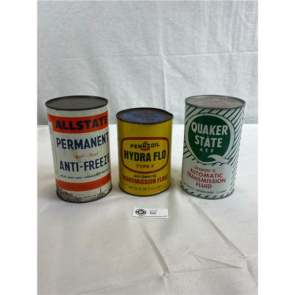 Quaker State, Pennzoil And Allstate Tin Cans, All Full