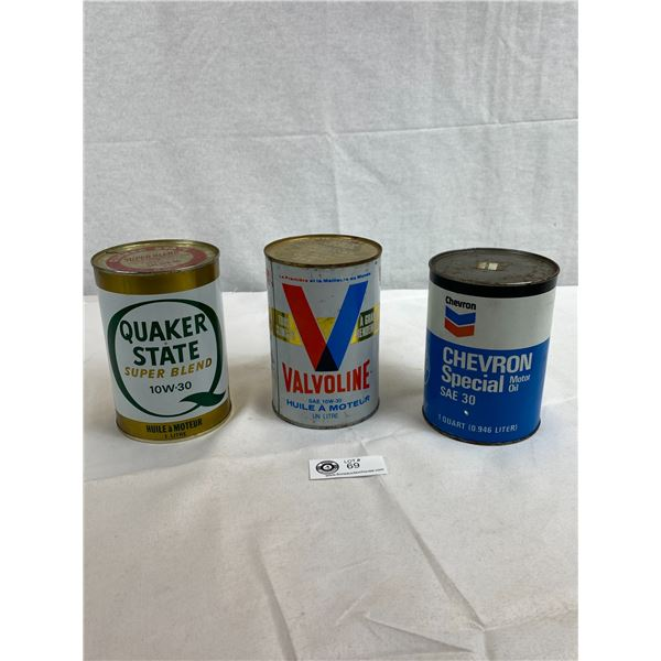 Quaker State, Chevron And Valvoline Tin Cans, All Full