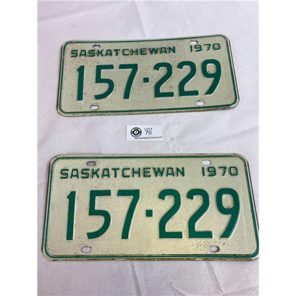 1970 Saskatchewan Matching Pair OF License Plates