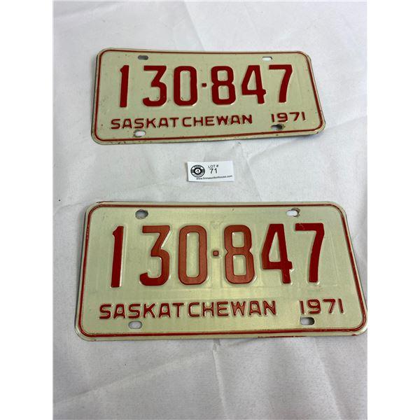 1971 Saskatchewan Matching Pair Of License Plates