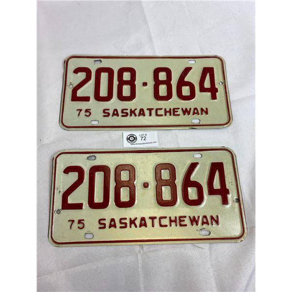 1975 Saskatchewan Matching Pair Of License Plates