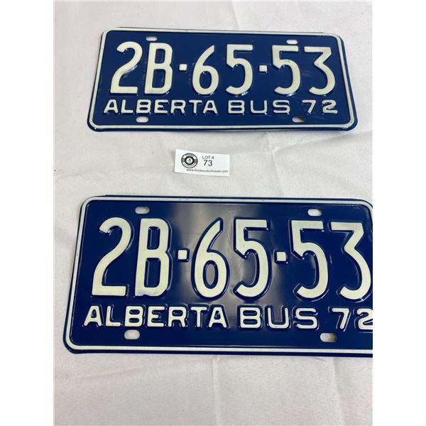 1972 Alberta Bus Matching Pairs Of License Plates