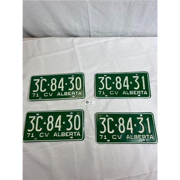 1971 CV Alberta Matching Pairs And Consecutive Sets (3C - 84 - 30 And 3C - 84 - 31), 4 Plates In Tot