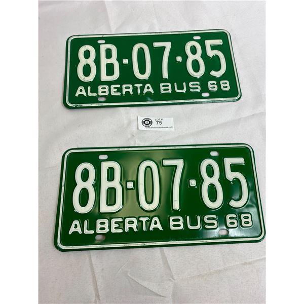 1968 Alberta Bus Matching Pairs Of License Plates
