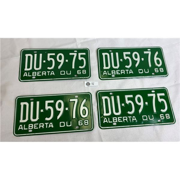 1968 Alberta DU Matching Pairs And Consecutive Sets (D4-59-75 And DU-59-76), 4 Plates Total, Never M