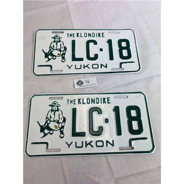 Beautiful The Klondike Yukon Matching Pairs Of License Plates, Never Mounted