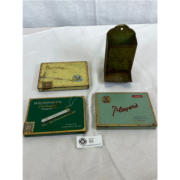 Vintage Original Tin Matches Holder And Sportsman, Macdonald's Export And Players Cigarette Tins