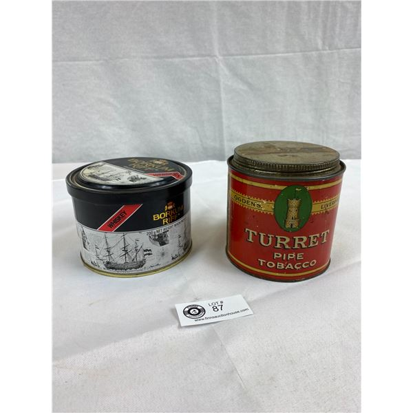 Turret Pipe Tobacco Tin Can, Ogden's Liverpool And Borkum Riff Pipe Tobacco Tin Can, Very Nice Condi
