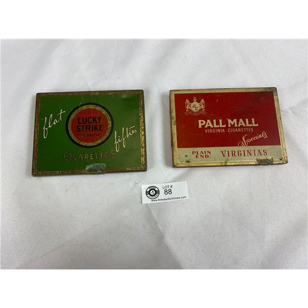 """Pall Mall Virginia Cigarettes And Lucky Strike """"Flat Fifties"""" Cigarettes Original Vintage Tins"""