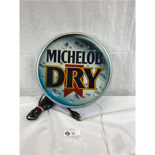 """Michelob Dry Beer Bottle Cap Light-Up Sign - Tested And Works, 13""""x3"""", Looks Great"""