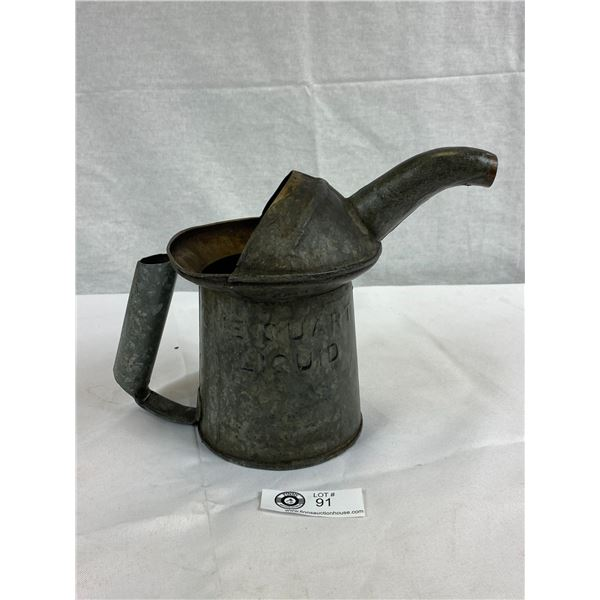 Original Vintage Galvanized One Quart Oil Can With Handle And Spout, Stamped NYC-PA Approved Type Q1