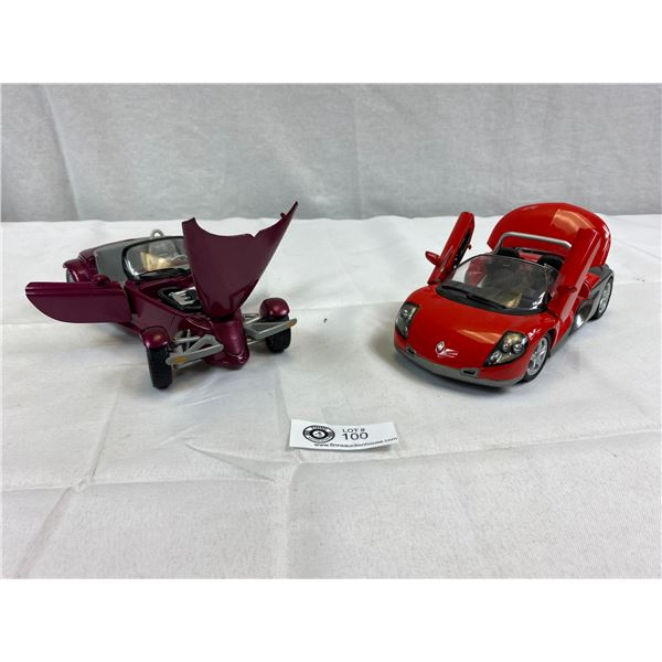 1:18 Scale Plymouth Prowler and Renault Spider Diecast Car. Prowler Missing Passenger Seat