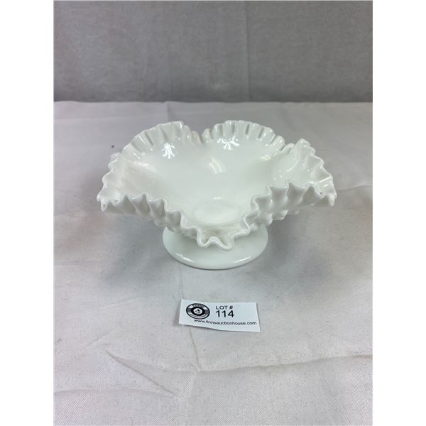 """Vintage Hobnail Milk Glass Bowl with Crimped Ruffled Edge 8"""" Across 3.5"""" H"""