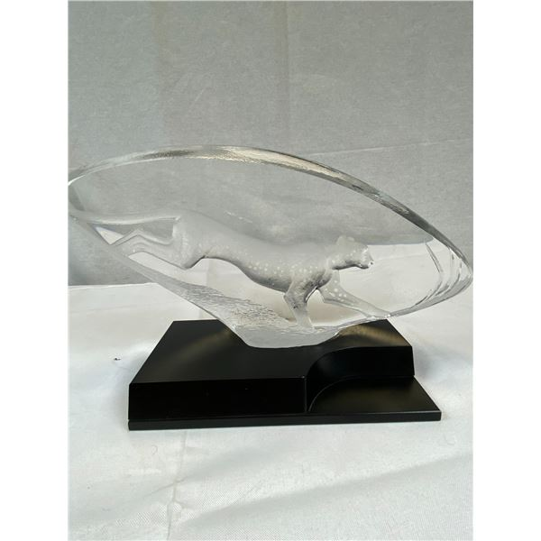 Stunning Maleras-Mats Jonasson Crystal Sculpture. Cheetah. Limited Edition 445/975. Retired Piece.