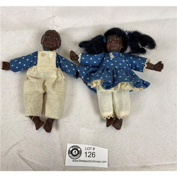 Vintage Black American Dolls- Porcelain & Cloth & Approx 5.5''
