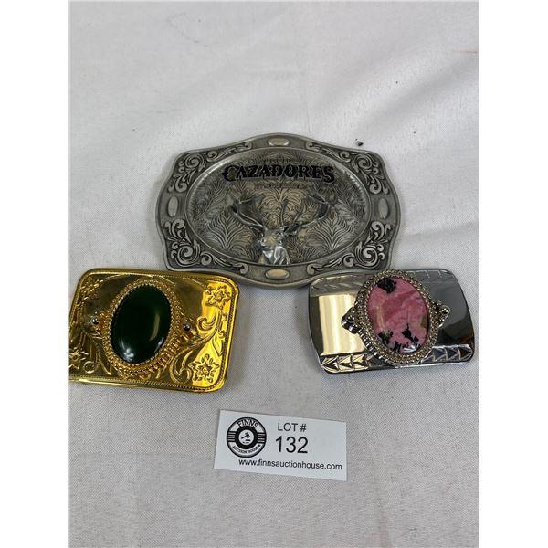 Vintage Western Wear- Stone Belt Buckles & Cazadores Pewter BuckleVintage Western Wear- Stone Belt B
