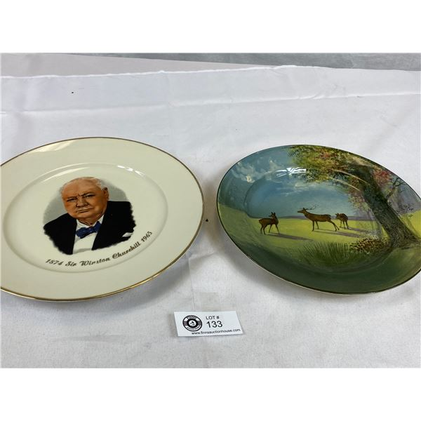 Royal Doulton Hand Painted Cabinet Plate & Churchill 1874-1965- West Germany