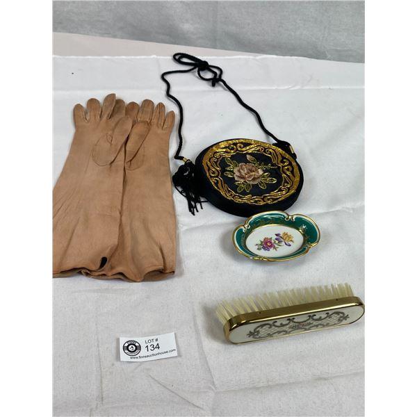 Vintage Kid Leather Long Gloves, English Dresser Brush, Embroidered Bag & Hand Painted Trinket Dish