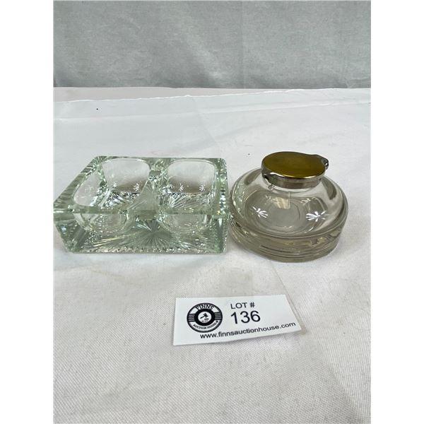 Vintage Glass Inkwell & Desk Organizer