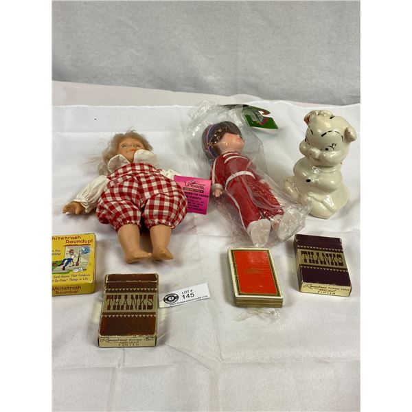 Vintage Dolls, Playing Cards & Piggy Bank