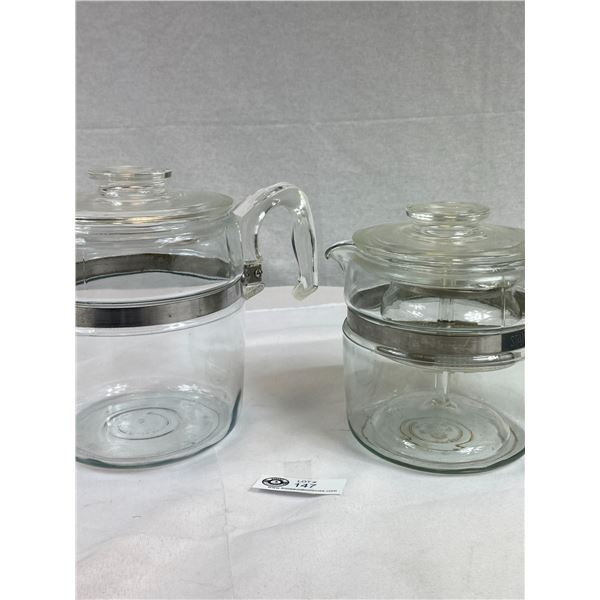 Vintage Pyrex Coffee Pots - One Complete with Chip on Lid & One no Inserts