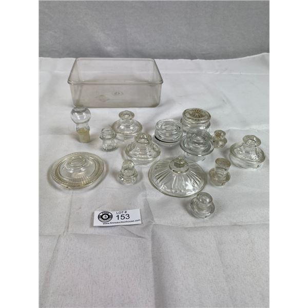 Tray of Vintage Glass Lids- Some Pyrex