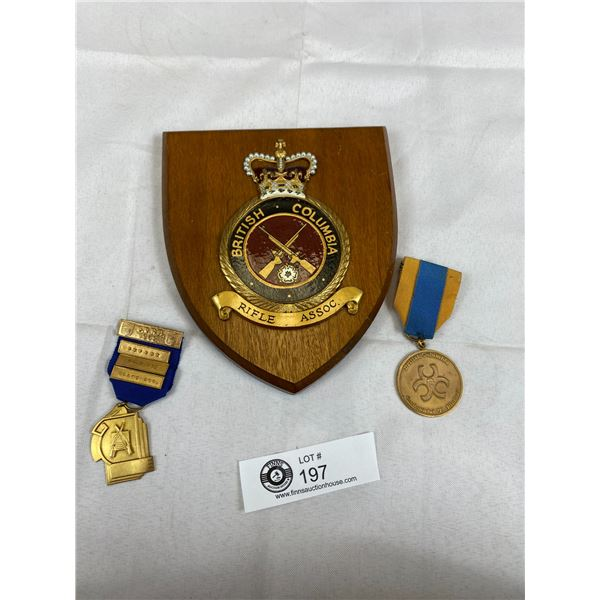 A BC Riffle Association Plaque and Medals