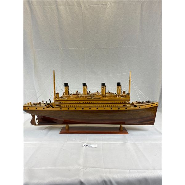 A Nice 32''x17'' Wooden Steam Ship on Stand Great Display Piece