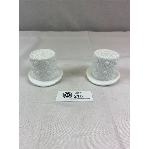 """Vintage Milk Glass Button and Daisy 2"""" x 3"""" Top Hats Toothpick Holders by Westmoorland"""