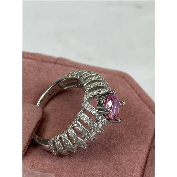 New Tested and Marked 925 Sterling Pink & White Cubic Zirconia Ring. Size 6 Good Quality, Nice Spark