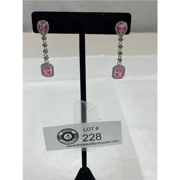 New Tested and Marked 925 Sterling Pink & White Cubic Zirconia Dangle Earrings Good Quality, Nice Sp