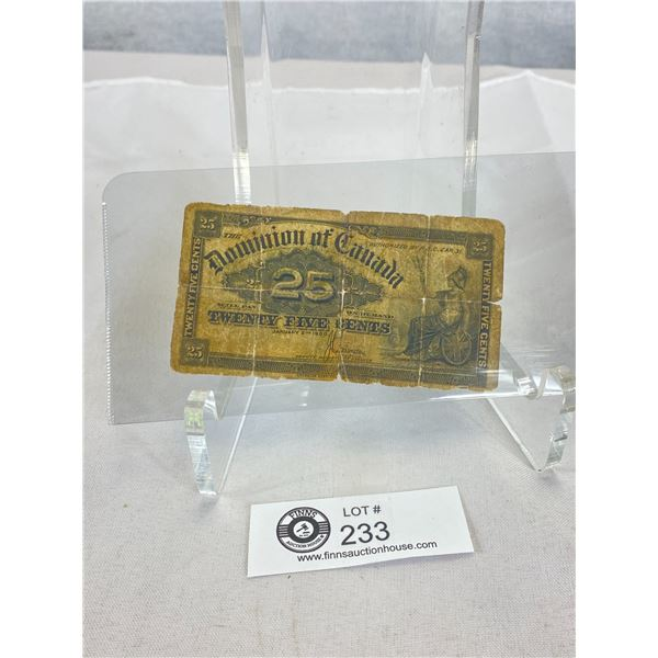 1900 Dominion of Canada 25 cent Note. Shinplaster