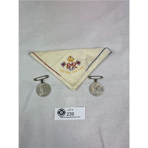 1937 Royal Coronation King George and Elizabeth Medal and Hankie Lot