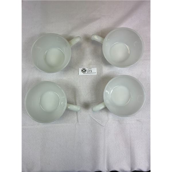 4 Vintage Anchor Hocking Fire King White Milk Glass Soup Bowls with Handle