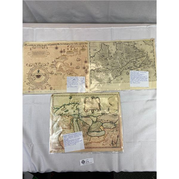 "3 Reproduction Maps from The Public Archives of Canada. 14 3/4"" x 11 7/8"" All Show Wear But Would Lo"