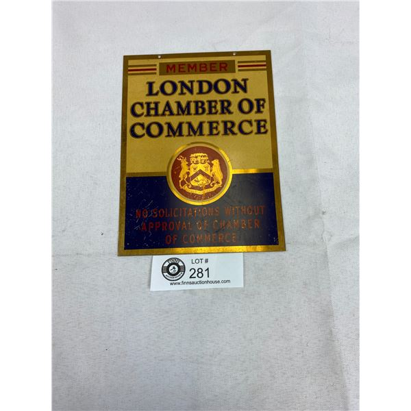 "Early 1900's London Chamber of Commerce Sign 5"" x 7"""